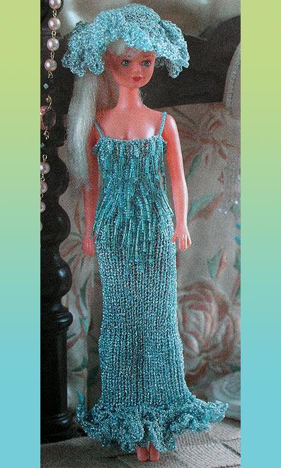платье и шляпка для барби кукольная одежда