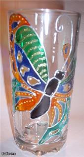 стакан расписанный витражными красками