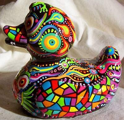 роспись акрилом фигурки утки