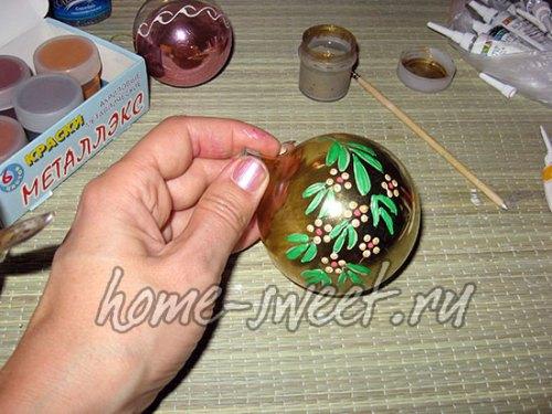 Роспись елочных игрушек для начинающих 3