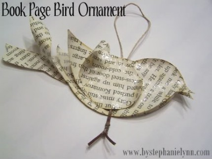 Book Page Bird Ornament