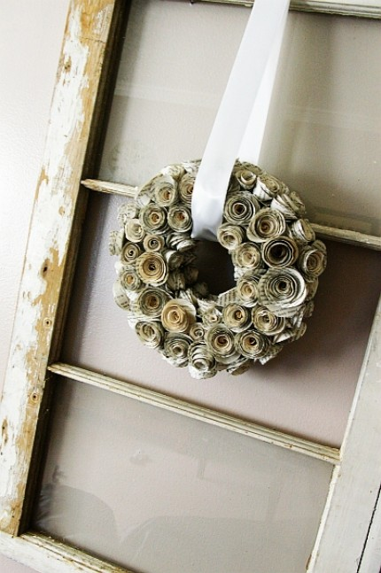 Book Page Rosette Wreath