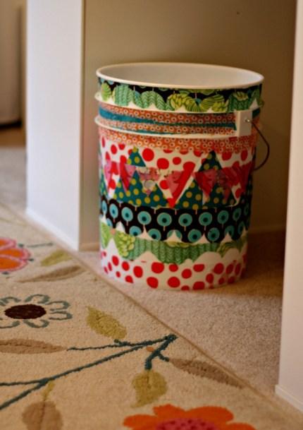 Decoupage Fabric Trash Can