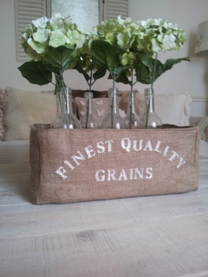 Faux Grain Sack Storage Box
