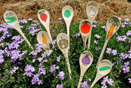 Wooden Spoon Garden Stakes