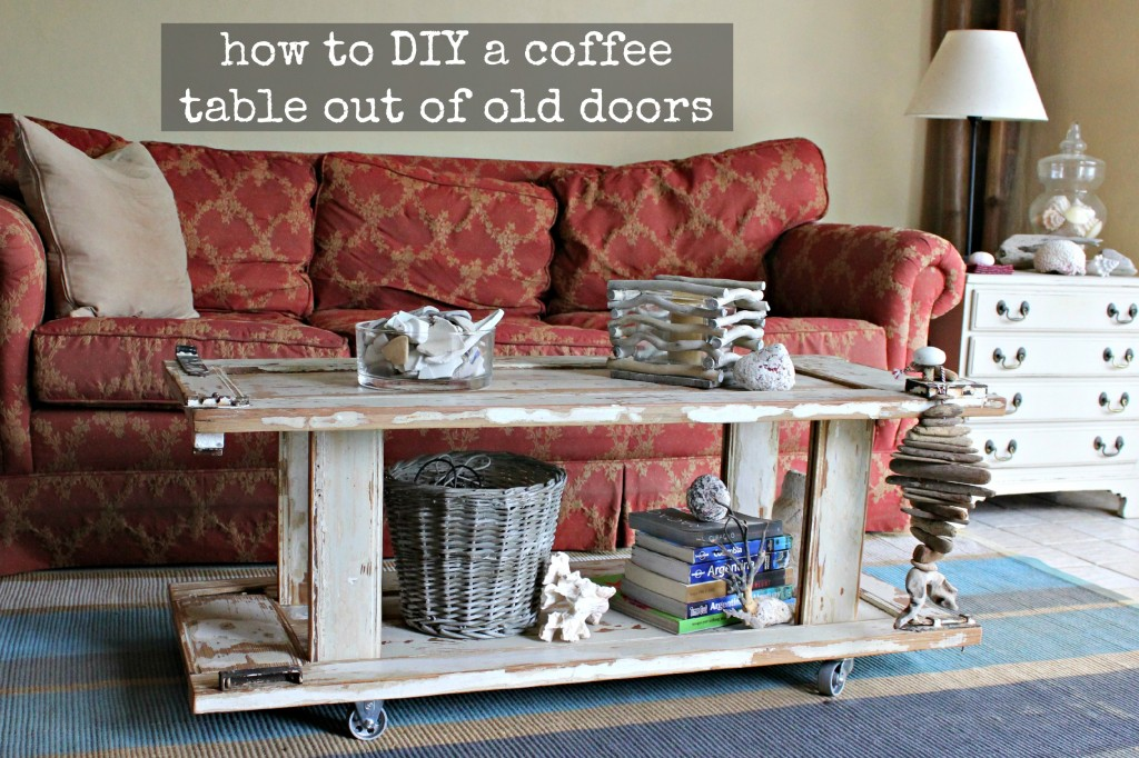 Old door to coffee table home and garden for Old door into coffee table
