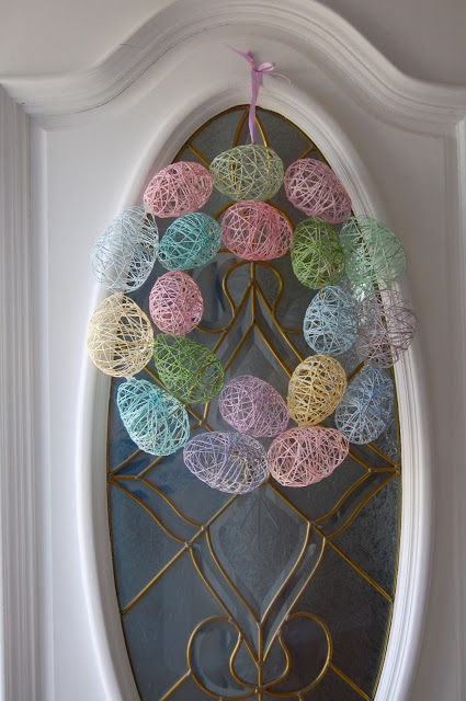 String Egg Easter Wreath