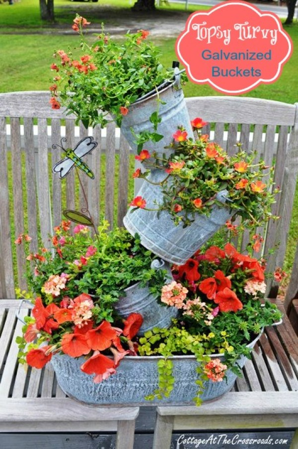 Create your own topsy turvy planter with galvanized buckets home and garden - Galvanized containers for gardening ...