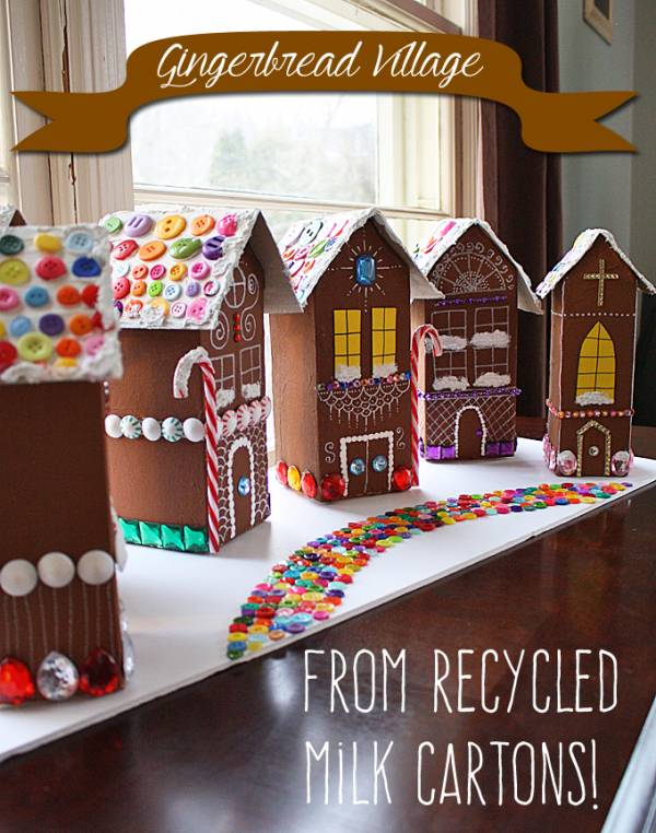 Make your own gingerbread house village from milk cartons for Christmas crafts with milk cartons