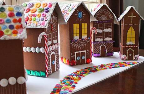Make Your Own Gingerbread House Village From Milk Cartons!
