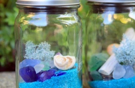 Mason Jar Solar Lights with a Beach Theme
