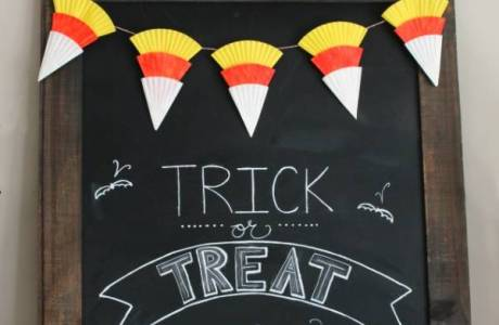 Candy Corn Bunting and Halloween Chalkboard