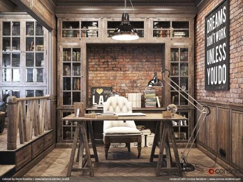 Medium Of Rustic Home Office