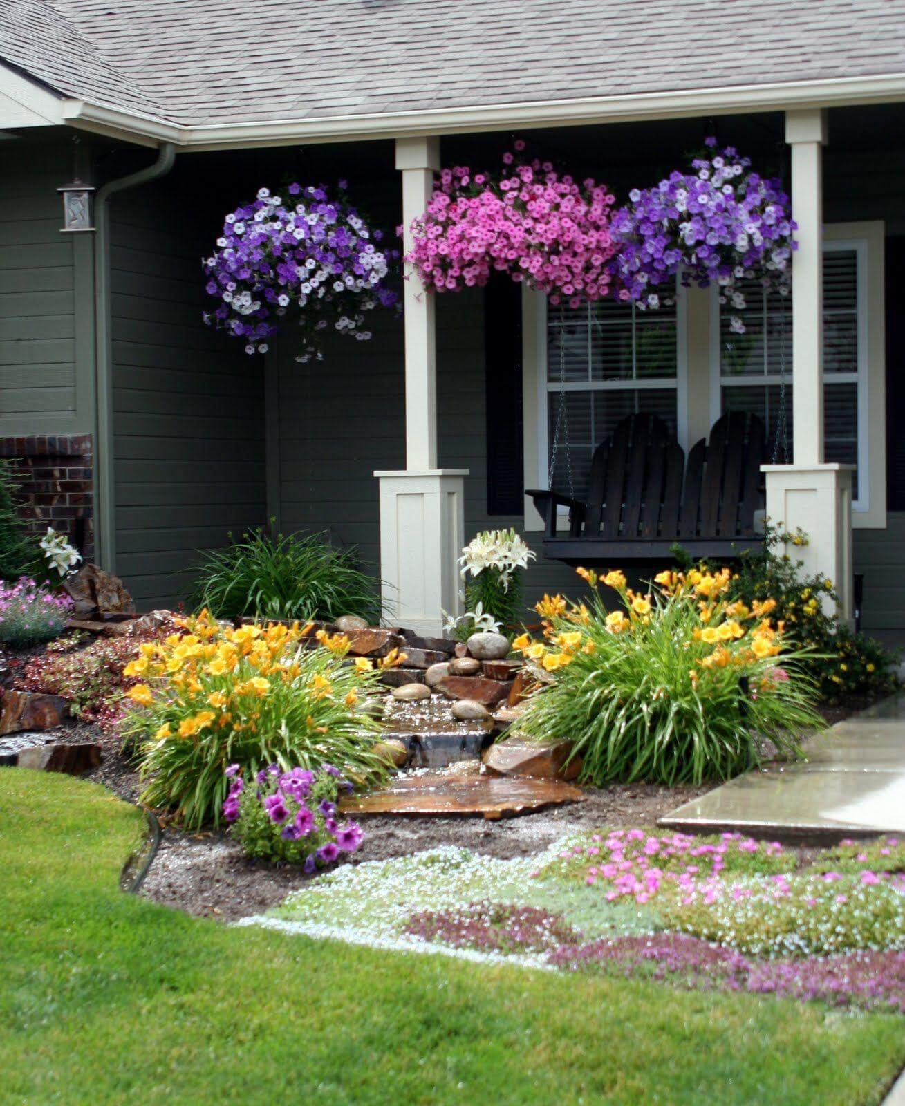 Chic Garden Designs Petunias Front Yard Landscaping Ideas Porch Full 2018 Landscape Pics Front Yard outdoor Landscaping Pics Front Yard