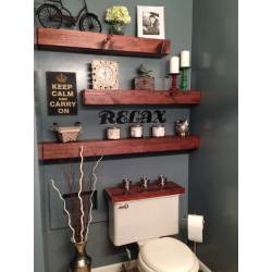 Small Crop Of Wood Shelves In Bathroom