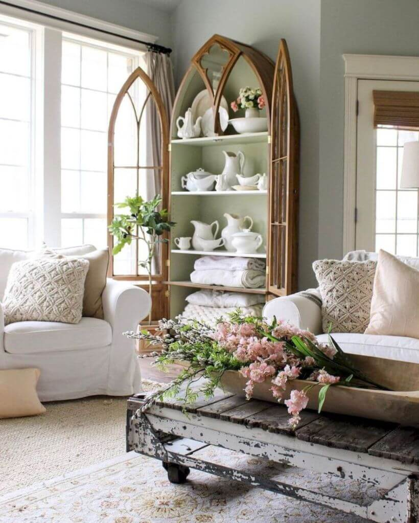 Soulful Gothic Revival China Cabinet Rustic Home Decor Ideas Designs 2018 Rustic Interior Home Decor Rustic Home Decor Interior Design home decor Rustic Home Interior Ideas