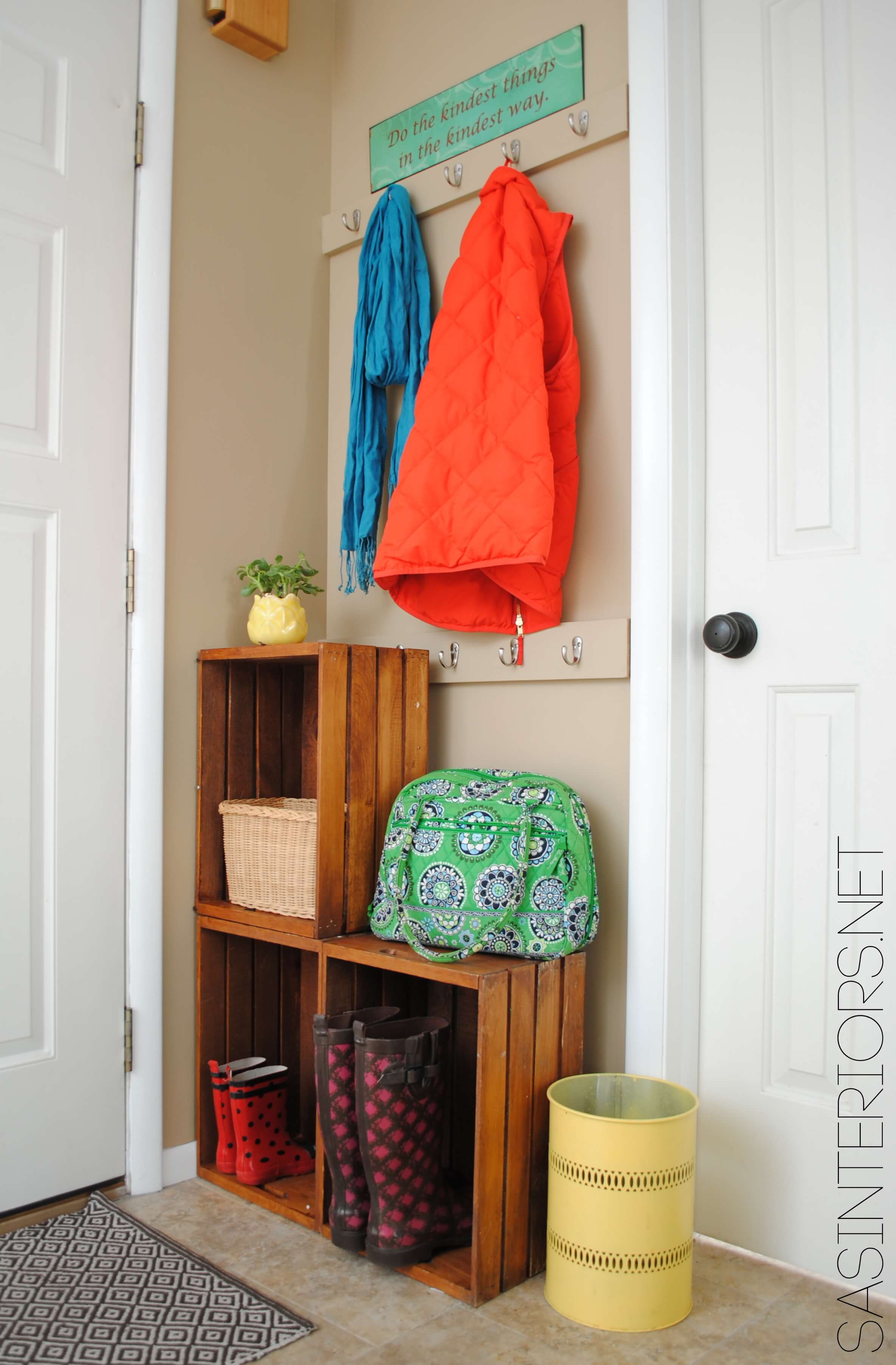Modern Stacked Crates Create Shelf Space 2018 Small Entryway Ideas Storage Small Entryway Ideas Designs Tight Small Entryway Decor Ideas houzz 01 Small Entryway Ideas
