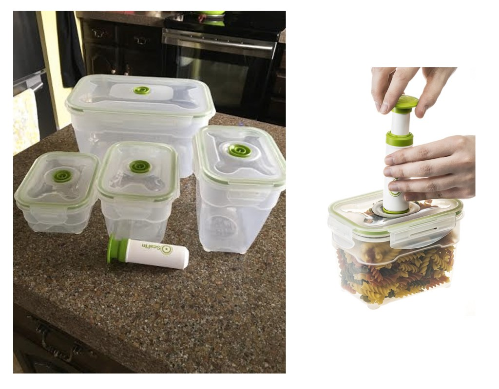 Seal'In Nestable Food Storage Vacuum Containers