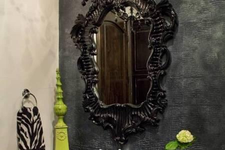 black ornate mirror gothic bathroom decor