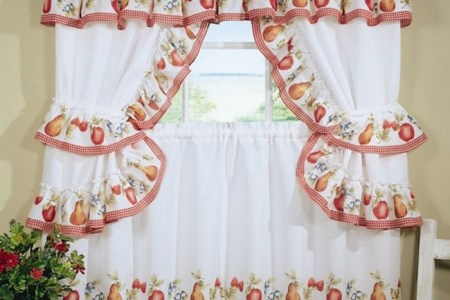 white and red kitchen curtain design