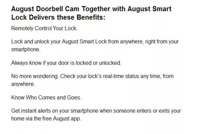 August Doorbell cam benefits