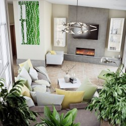 Phantasy Floral Pattern 8 Lounge Living Room Interior Design Eco Style Earthy Colors Green Yellow Accents Many Potted Plants Coffee Table Big Sofa Metal Chandelier Geometrical Wall Mirror Decor