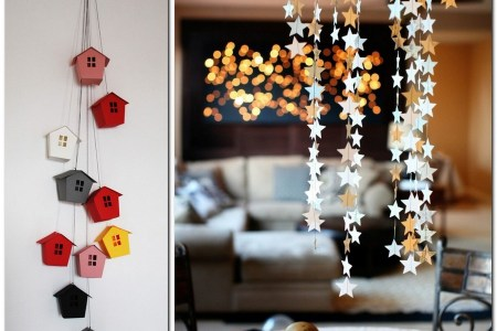 2 handmade colored paper garlands ideas home decor party holiday stars glued little houses