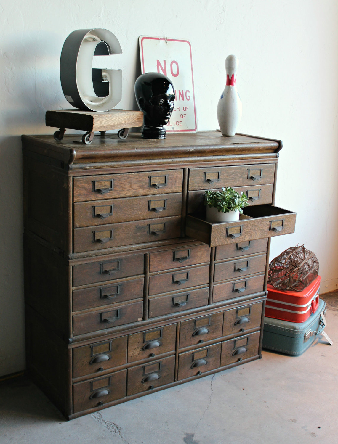 Wonderful image of Antique Wooden 23 Drawer Storage Cabinet Home Lilys design ideas with #80584B color and 1141x1500 pixels