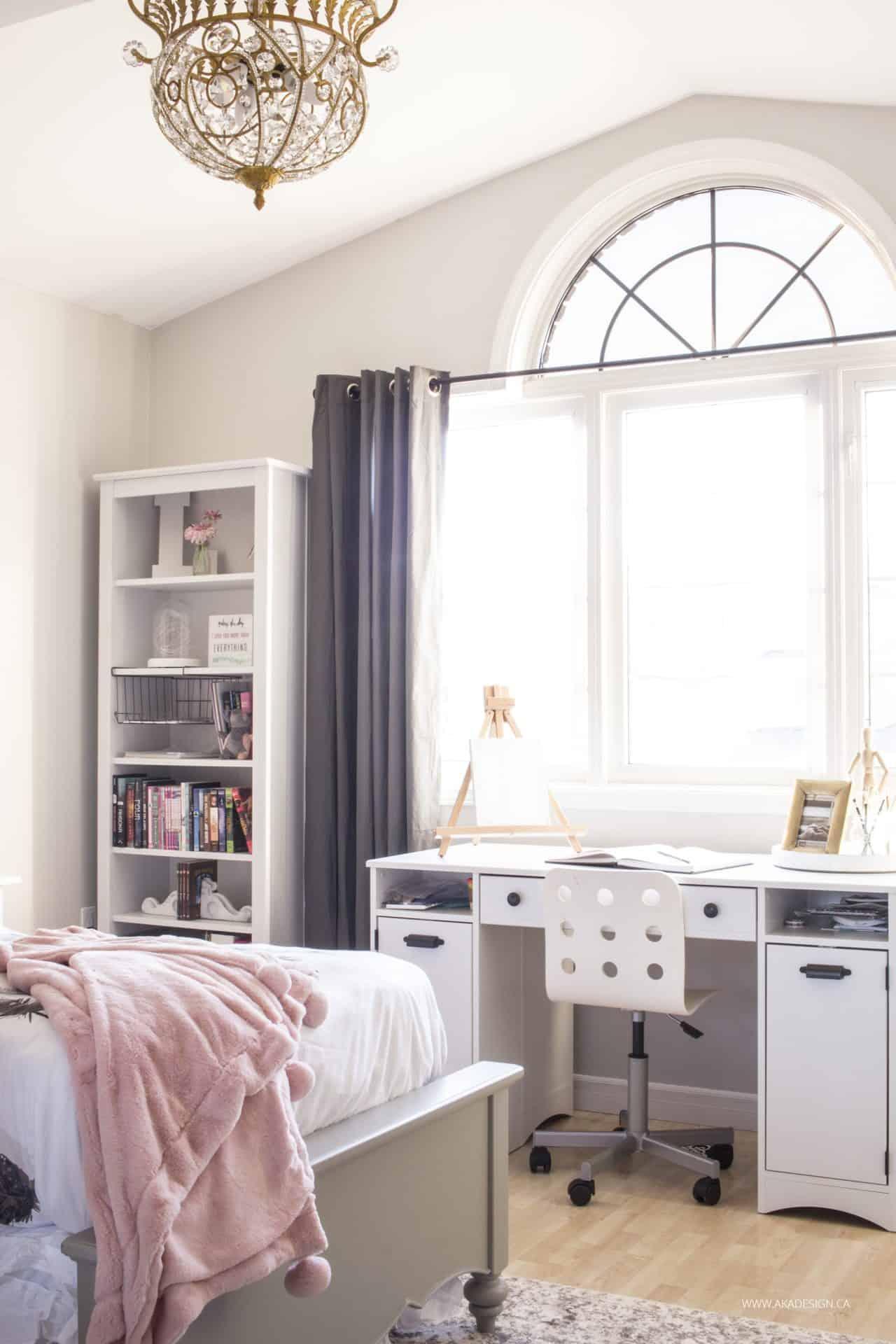 Indoor Pink Grey Blush Room Pink G Bedroom Makeover Reveal Girls Bedroom Makeover Girls Bathroom Makeover bedroom Girls Bedroom Makeovers