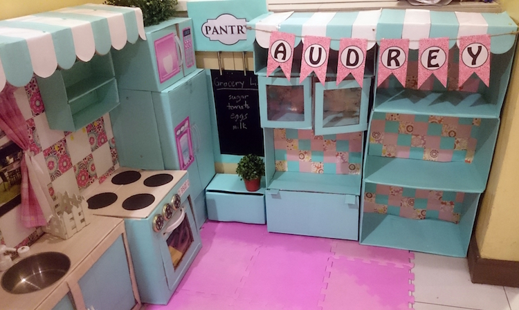 DIY Cardboard Kitchen Cafe Pantry Playset10