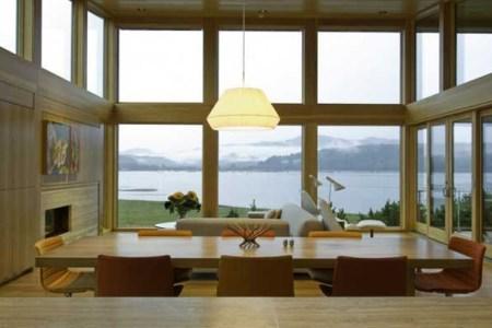 wood beach house with kitchen interior design