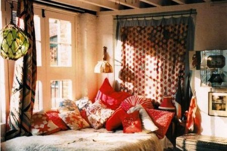 bohemian style bedroom interior
