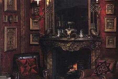 dark and red gothic fireplaces