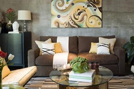 brown living room decorating ideas in stone textured wall