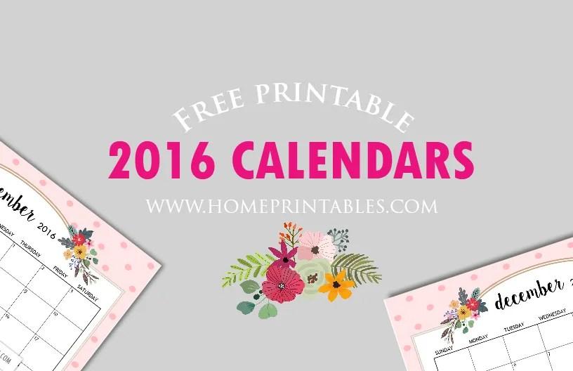 cute free printable 2016 calendar - Home Printables