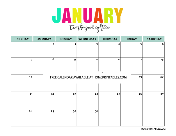 January 2018 Calendar Printable Pretty | Printable Editable Blank