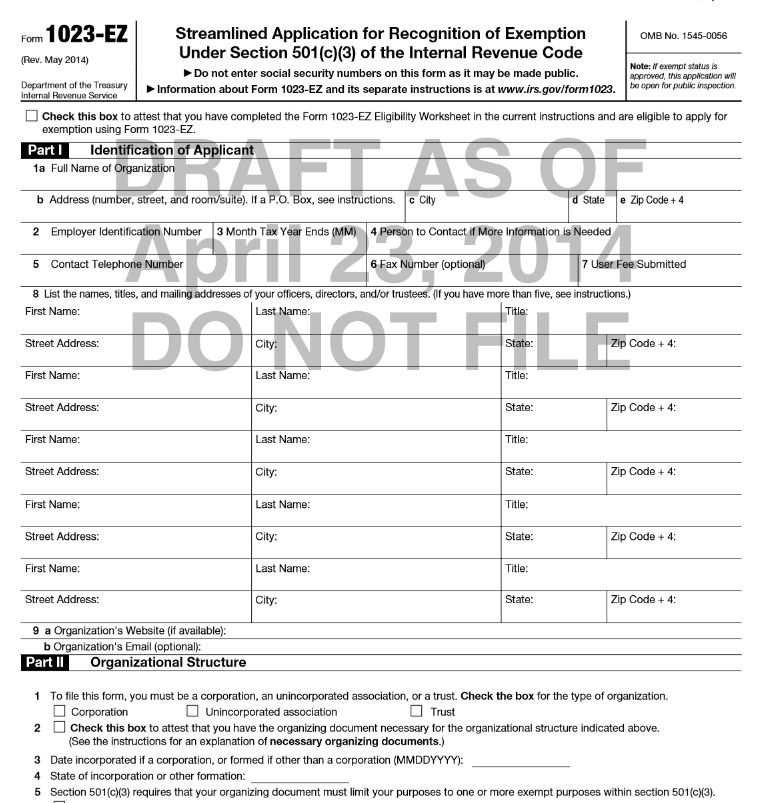 ... Form 1023-E... 1023 Ez Status