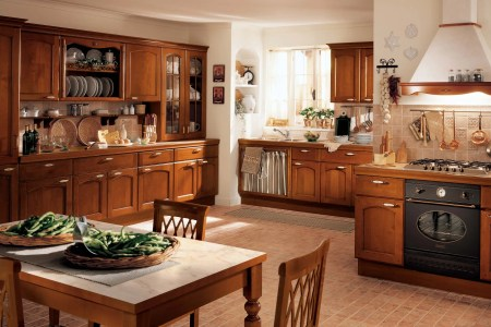 home de kitchen design in clic style with wood kitchen storage simple wood dining chairs white surface dining table brown subway tiles flooring