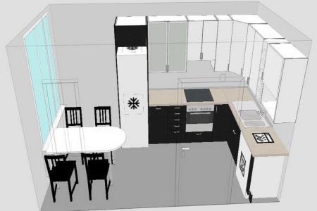 kitchen floor plan in 3d without tone colors designed by virtual home de kitchen design tool
