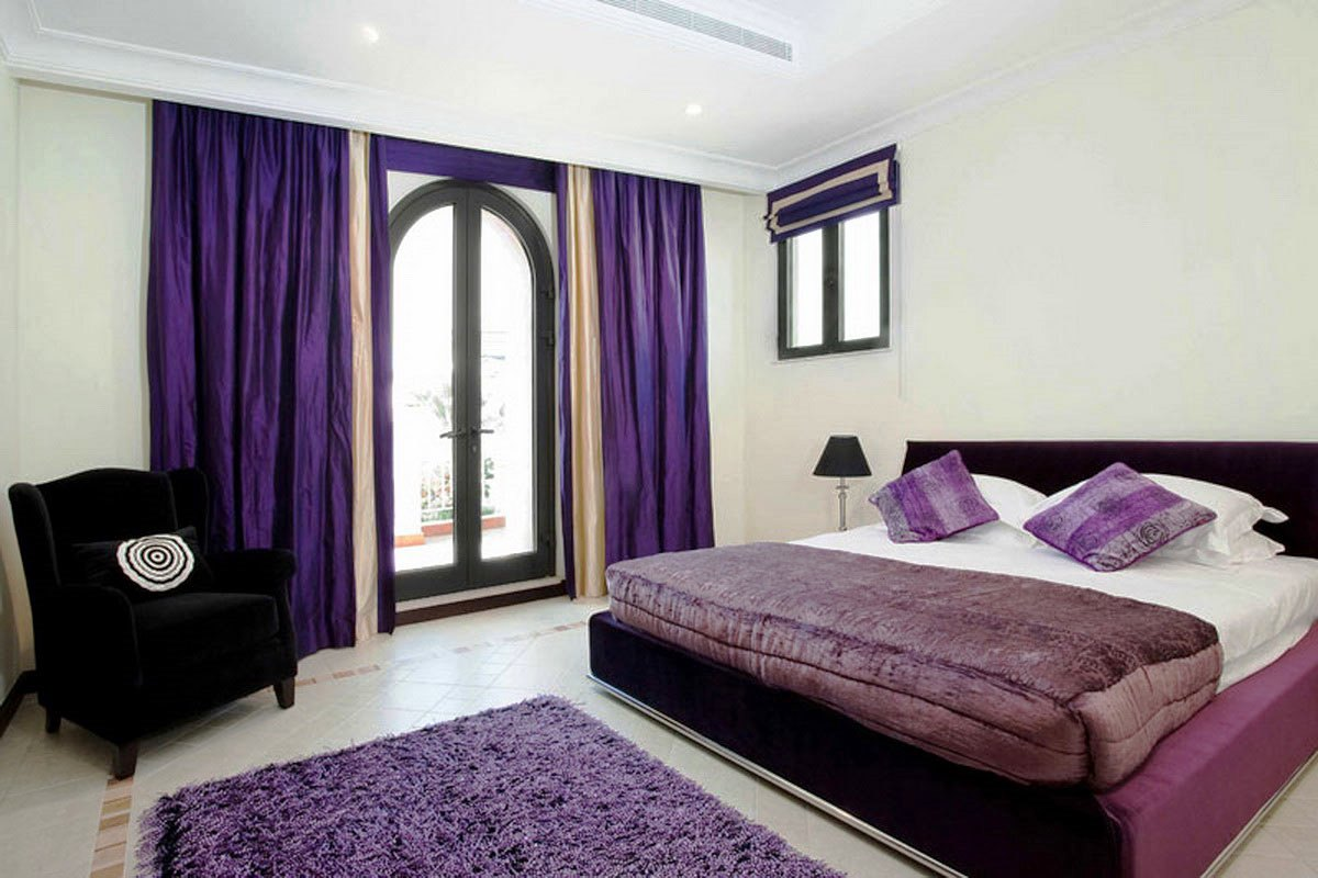 Charm B Purple Curtains Purple Bedcover Purple Pillows Purple Wool Bedroom Rug Ceramic Tiles S A Black Chair Glass Door Queen Sized Bed Furniture Bedding bedroom Purple Decorations For Bedroom