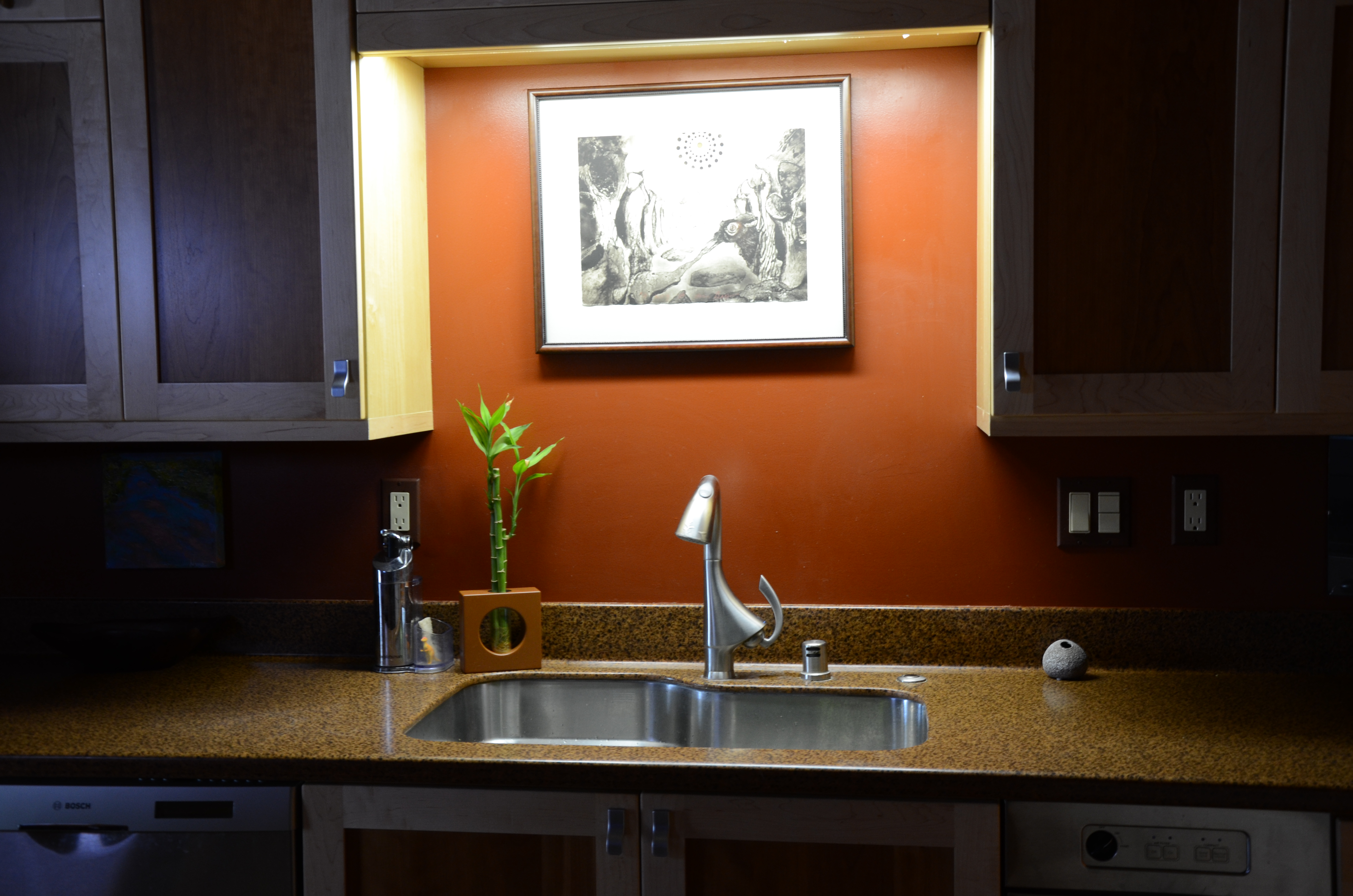 Ceiling lighting fixture for modern sink and faucet a modern kitchen set with storage and luxurious granite countertop and also a painting with tiny black frame