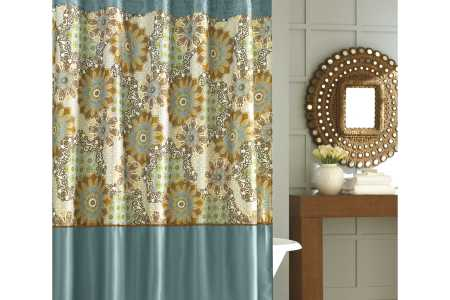 adorable nicole miller home decor for bathroom with fl patterned blue curtain for freestanding white tub and sun wall mirror and wooden vanity