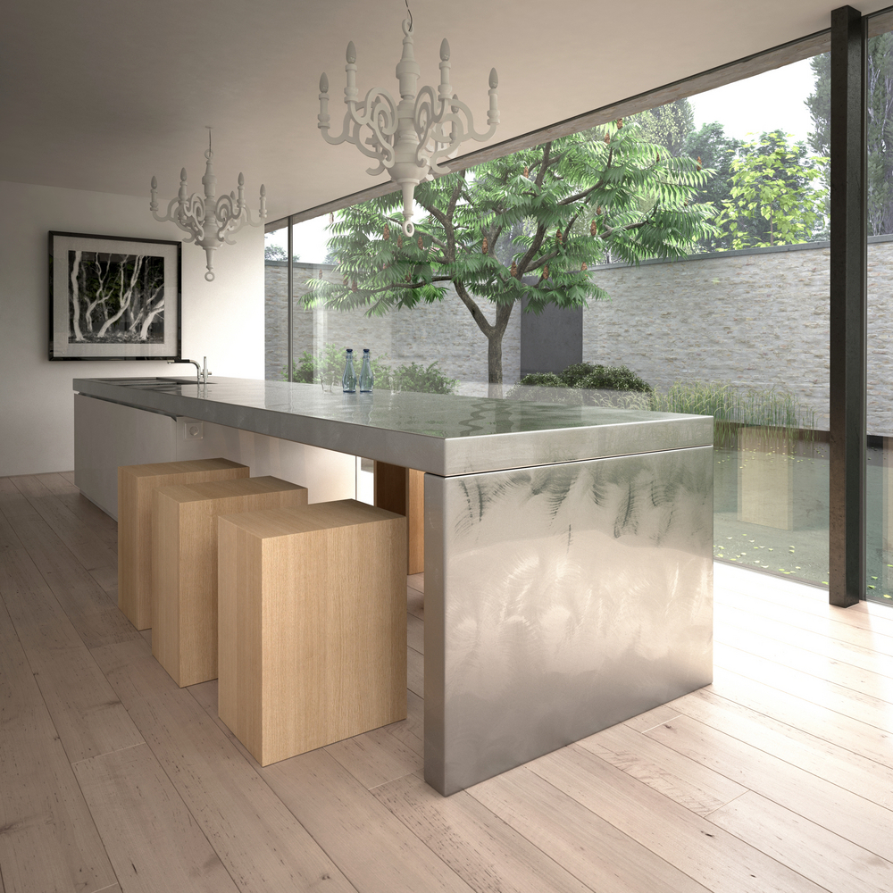 Modern large sized metal kitchen island table combination with sink plus faucet and unfinished wooden blocks as dining chairs two units of classic white pendant lamps