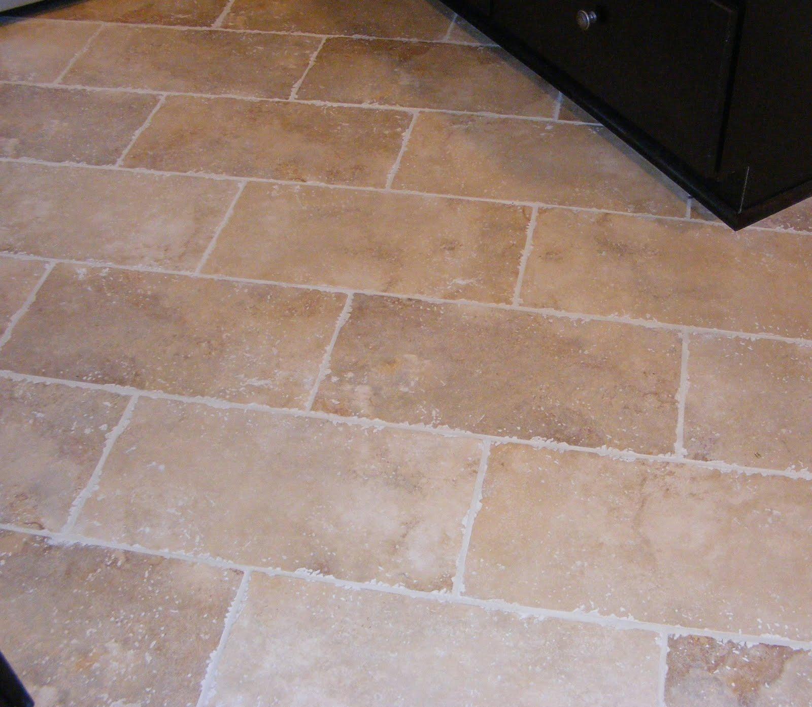 rectangular floor tile kitchen floor tile ideas Rectangular Cream Tile Kitchen Floor