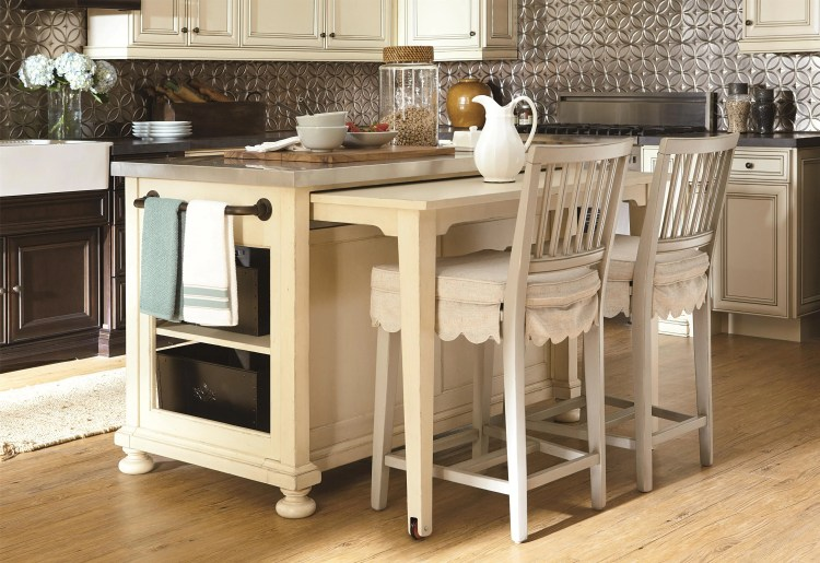 space saving kitchen island with pull out table homesfeed 15 space saving kitchen islands with tables you need to see