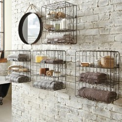 Distinguished Framed Bathroom Wall Shelving Idea To Adorn Your Room Homesfeed Black Wire Bathroom Shelves Design Like Bird Cage On Rustic Brickwall Design