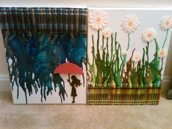 Guide on how to create a colorful rainbow diy crane curtain detailed - Smart Diy Melted Crayon Art Project Adding Color To Any