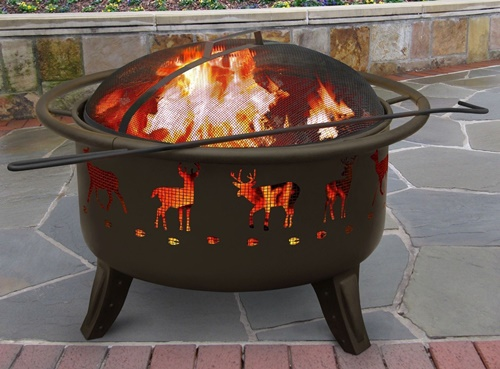 Patio Lights Deer Tracks Fire Pit Black