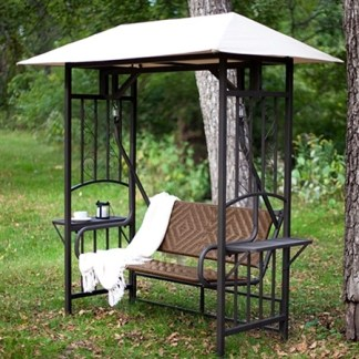 2 Person Gazebo Canopy Porch Swing Glider Natural Brown Resin Wicker
