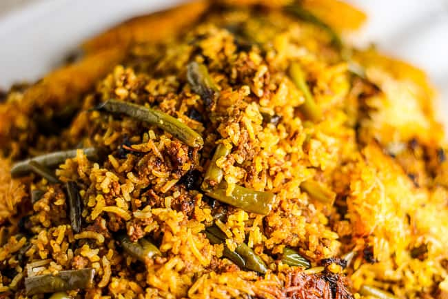 Beef and Green Bean Rice (Loobia Polo)